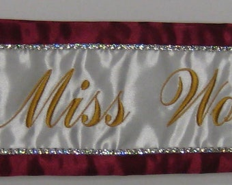 Custom Beauty Pageant Sashes with Logo and a Single Row of Rhinestones