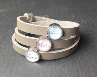 Wrapping bracelet with the name gray