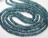 70 Carats,18 Inch Strand,Superb-Finest Quality Natural Teal Green KYANITE Faceted Rondelles,3-5mm size