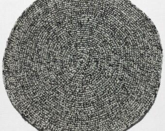 Black, White, Gray, Wool Area Rug