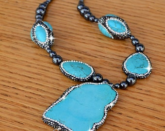 "Stunning Genuine Turquoise, Hematite Sterling SIlver Sparkle Pendant Necklace. 16-18"" 50mm Slab Turquoise, 33mm 3D Beads and Tear Drops."