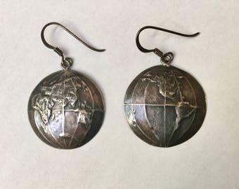 vintage sterling globe earrings