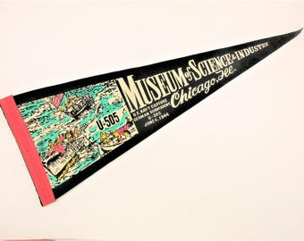 Vintage Chicago Pennant - 'Museum of Science & Industry' - Graphic of 'U-505 Capture' - Vintage Wool Felt Pennant - Souvenir From 1950s