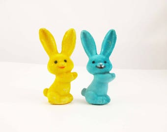 Vintage Felted Rabbits - Bright Teal and Gold - Could Hold Something? - Bunnies For Easter - Short, Smiling Rabbits