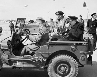 France, Normandy Invasion, D-Day, Winston Churchill in a jeep, Black & white, old, vintage antique, photography, picture, print, fine art