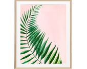 Tropical Leaf Wall Decor, Watercolor Palm Leaf, Tropical Plants Print, Palm Frond, Botanical Poster, Palm Springs Decor, Greenery Wall Art