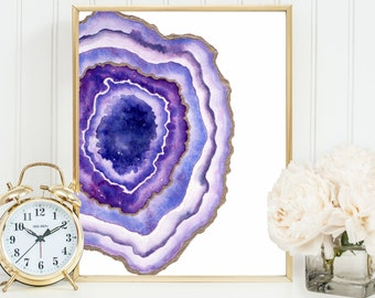 Geode Agate Slice Art, Geode Print, Gemstone Wall Decor Watercolor Agate Crystal Art Print Yoga Studio Decor Female bedroom Art Nursery Art