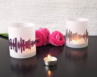 New York Tablelight set of 2 lanterns, romantic candlelight in fume and plum, City Shade NYC , for New York Lovers, Honeymoon in New York