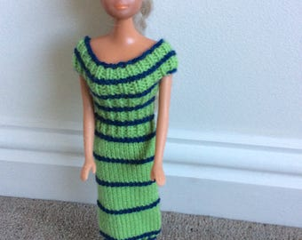 Hand knitted barbie doll clothes.  Green and navy blue striped dress