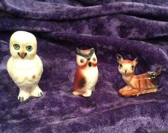 3 Collectible Bone China Owls and Deer Figurines, figure, Miniature Collectibles
