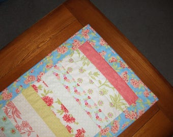 Quilted Table Runner - Floral Stripes - reversible