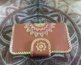 Tan leather mandala wallet