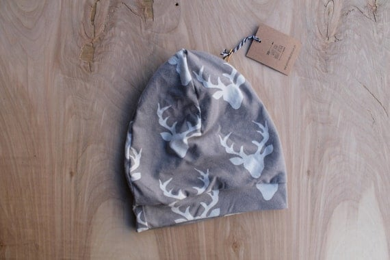 Baby slouchy beanie- grey bucks- slouchy hat- baby slouchy toque- hipster baby clothes- trendy baby clothes- gender neutral