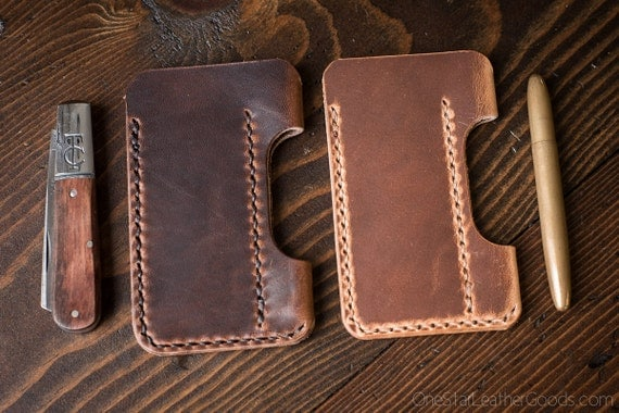 "EDC pocket knife and pen case ""the EDC1"" in Horween Dublin veg tanned leather - brown or natural"