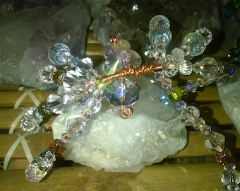 Crystal Spider Dream Catcher Charm and Tillandsia Air Plant--For your Fairy Garden Terrarium