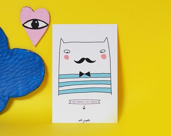 card A6 French Cat
