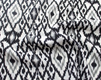 Black Diamond Pattern Print on 58' Silky Rose Skin Fabric By the Yard Style 3205