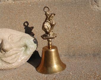 Vintage Brass Bell, Desk Bell, Vintage Solid Brass, Lady Design Handle, Sick Bell