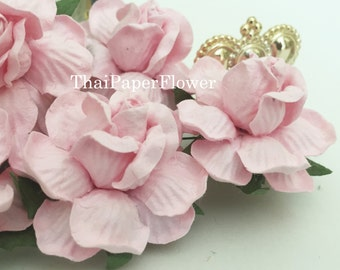 25 Soft Pink Large Roses Mulberry Paper Flowers Scrapbook Craft Wedding Supply R40/2