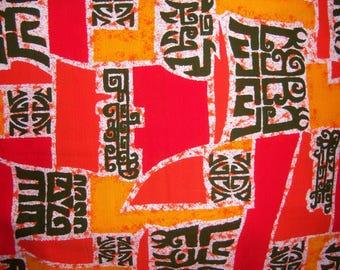 "Vintage Orange Brown White Polynesian Tiki Motif Hawaiian Barkcloth Fabric 108"" X 43"" 3 Yards Hawaii Mod Tribal Bark Cloth"