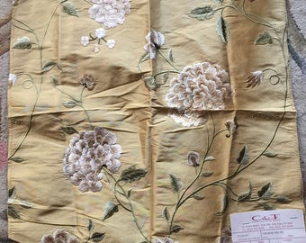 French country silk embroidery floral fabric Chinese Pecny Silk by Colefax and Fowler