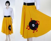 1950s Style Women's Circle Skirt / 50's Skirt & Stretch Belt - 2 Piece - Record and Music Notes Silhouettes - Music Theme Costume