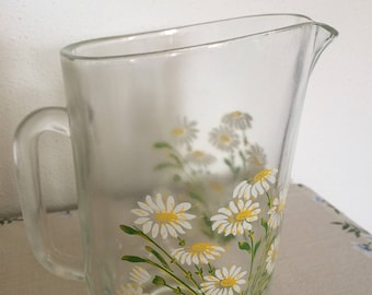Vintage glass jug with daisy design