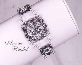 """Victorian bridal bracelet, rhinestone brial bracelet, Swarovski, antique silver, """"Antique Elegance"""" bracelet"""