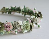 Greenery Flower Crown - Paper flower hair accessory - Sage green, olive green and pink - Made of mulberry paper and natural twine