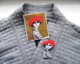 Kees Van Dongen brooch - Hand Embroidered pin - Vegan Felt brooch - Wearable art brooch - Van Dongen Jewelry