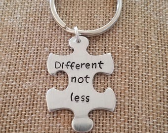 Puzzle key chain- autism awareness- hand stamped- personalize-different not less- awareness