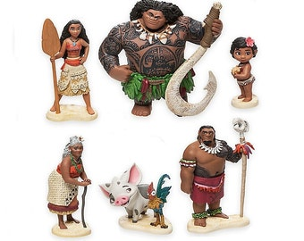 Moana CAKE TOPPER Maui Hei Hei Pua 6 Figure Set Birthday Party Cupcakes Figurines Disney * FAST Shipping *