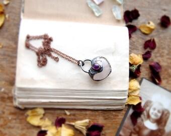 Lovely Rose Quartz necklace, heart shaped, dainty jewelry, romantic, electroformed necklace, amethyst, pink quartz, boho jewelry MARIAELA