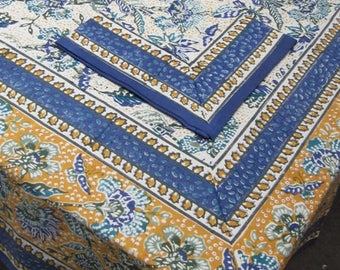 Floral Indian Block Print Tablecloth Blue White and Yellow Sustainable Cotton Eco Friendly