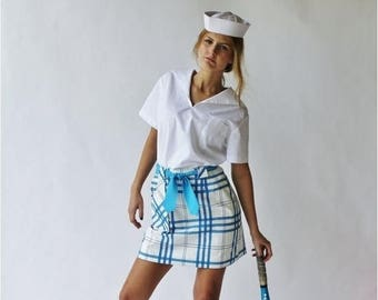 Sexy Spring Sale 25% off Vintage Bright Blue Plaid Gingham and White Short Skirt Skort Tennis Golf Bike by David Smith Size 10