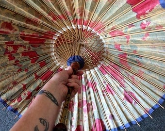 Vintage 1940s Rare Japanese Bamboo and Oil Paper Umbrella or Parasol