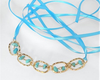 Faux Turquoise Stone Choker Ribbon Necklace Under The Hoode Intimate Jewelry and Gifts