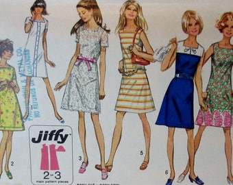 Vintage 1970s  Simplicity 8723 Jiffy   Sleeveless Shift Dress Pattern Size 12