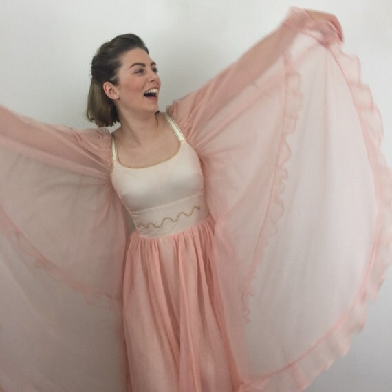 Vintage dress Fairytale princess 1960s butterfly sleeves costume dress pink with sequins caped nylon chiffon 60s festival party UK 6 8