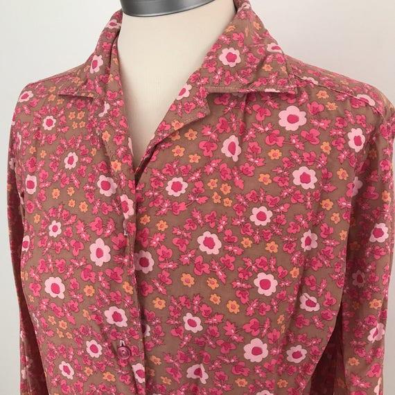 "Vintage blouse pink floral print 1960s flower power shirt 40s feel cotton mix UK 12 14 40"" chest 70s"