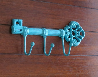 Key Holder /Turquoise or Pick Color/Key Hanger/ Skeleton Key Rack /Cast Iron Hook/ Entrance Kitchen Foyer Entry Wall Hook/ Housewarming Gift