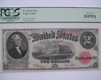 United States 1917 Note Two Dollar Legal Tender Bill Thomas Jefferson Capitol Bldg Paper Money Currency  PCGS Graded Very Fine 35 PPQ FR.60