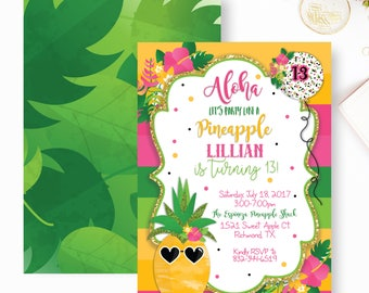 Pineapple Birthday Invitation, Party Like a Pineapple Invitation, Pinnapple Birthday Party, Aloha Pineapple Invitation- YOU PRINT