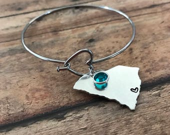 Custom Handstamped State Bracelet, Heart Bangle Bracelet, Home State Birthstone Jewelry, Heart over City, Gift for her, Long Distance Gift