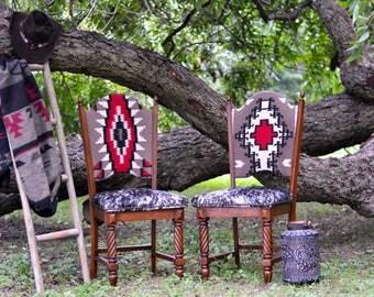 Restored Refurbished Reupholstered pair of cowhide Vintage chairs custom design