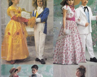 Simplicity 0643 Costume Pattern Kids Beauty and the Beast, Southern Belle & Gentleman Size  7,8,10,12,14 UNCUT