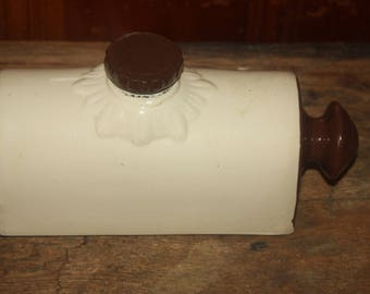 Vintage Pottery Brown and Beige Foot Warmer Screw on Lid One and One Half Pint