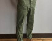 Vintage OG-107 Military-Issued Olive Green Cotton Sateen Utility Pants (30x31)