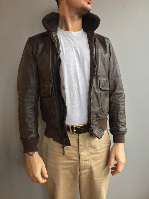 U.S. Navy G-1 Brown Leather Flyers Jacket with Mouton Collar. (Size 40)