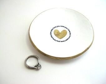 Ring Dish| Jewelry Dish| Polymer Clay Dish| Trinket Bowl | I Love You Ring Dish